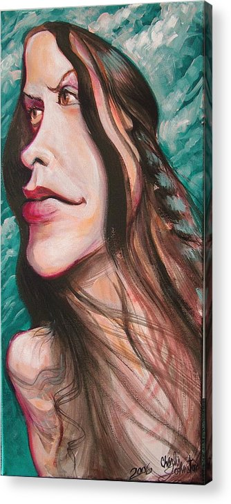 Portrait Acrylic Print featuring the painting Alanis Morissette by Charles Johnston