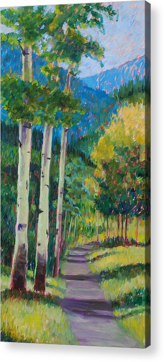 Aspen Tree Art Acrylic Print featuring the painting Aspen Trails by Billie Colson