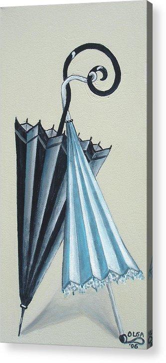 Umbrellas Acrylic Print featuring the painting Goog morning by Olga Alexeeva