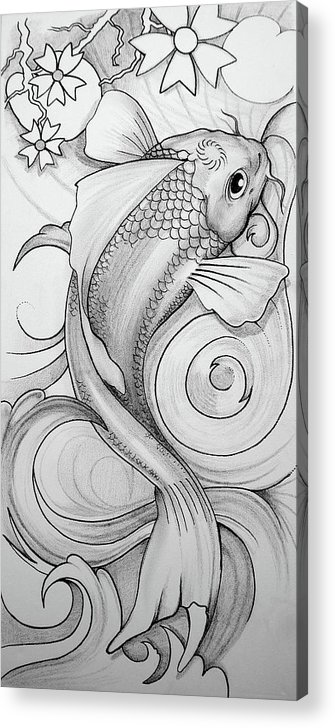 Koi Acrylic Print featuring the drawing Koi by Brian Gibbs