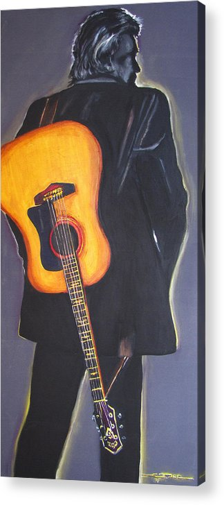 Johnny Cash Acrylic Print featuring the painting Man in Black's Back by Eric Dee