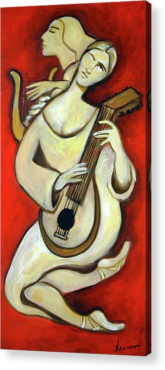 Muse Acrylic Print featuring the painting Muse with a Lute by Valerie Vescovi