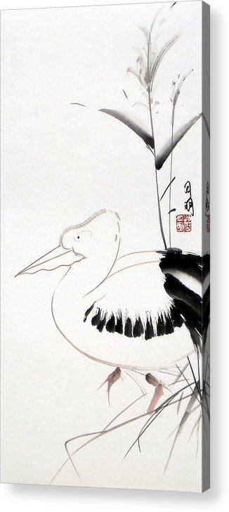Chinese Painting Acrylic Print featuring the painting Pelican by Ming Yeung