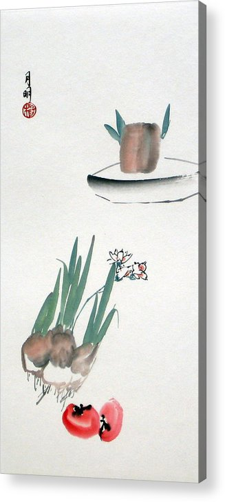 Chinese Painting Acrylic Print featuring the painting Seasonal flowers by Ming Yeung