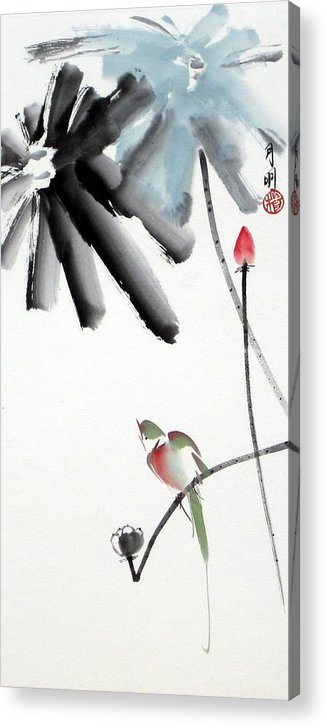 Chinese Painting Acrylic Print featuring the painting Summer pond by Ming Yeung