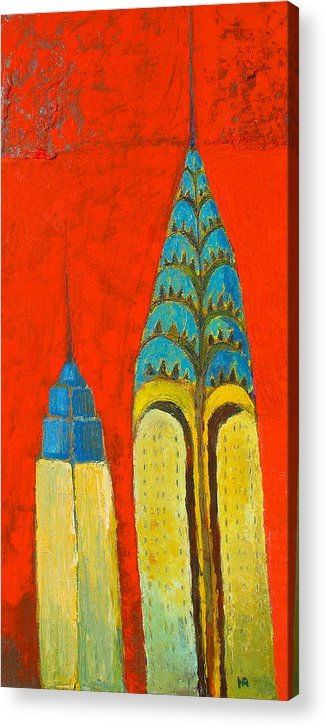 Acrylic Print featuring the painting The Chrysler And The Empire State by Habib Ayat
