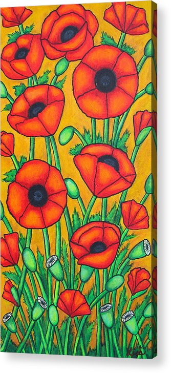 Colourful Acrylic Print featuring the painting Tuscan Poppies by Lisa Lorenz