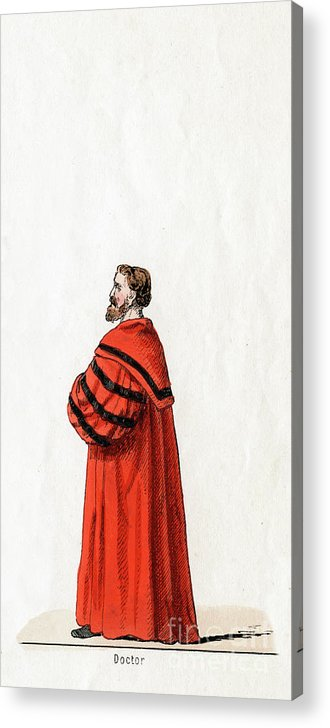 Engraving Acrylic Print featuring the drawing Doctor Butts, Costume Design by Print Collector