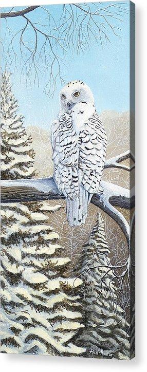 Rick Huotari Acrylic Print featuring the painting Snowy Owl by Rick Huotari
