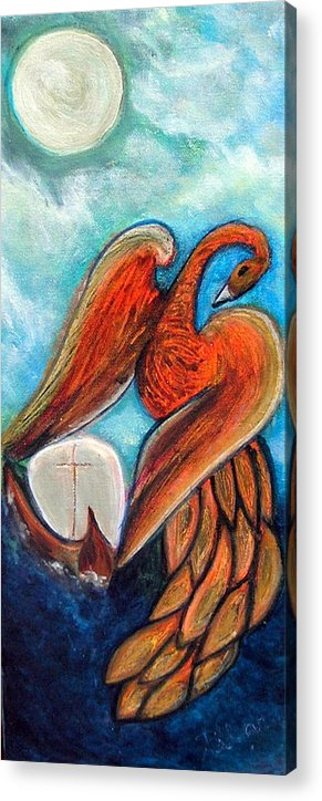 Firebird Acrylic Print featuring the painting The Firebird and the Sailboat by Pilar Martinez-Byrne