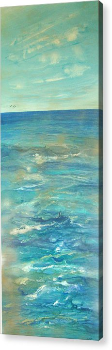 Contemporary Sea Acrylic Print featuring the painting Mer Douce De L by Annie Rioux