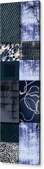State Of Mind Dimension Cracked Fantasy Mystery Person Textures Design Composition Artwork Abstract Real Blue Soothing Colors Patterns Wall New Modern Style Stripes Contemporary Urban Fusion Decor Decorative Graphic Illustration Interior Material Muted Natural Acrylic Print featuring the painting Cracked by Ramneek Narang