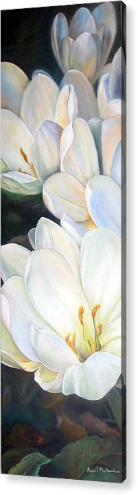 Floral Painting Acrylic Print featuring the painting Crocus by Muriel Dolemieux