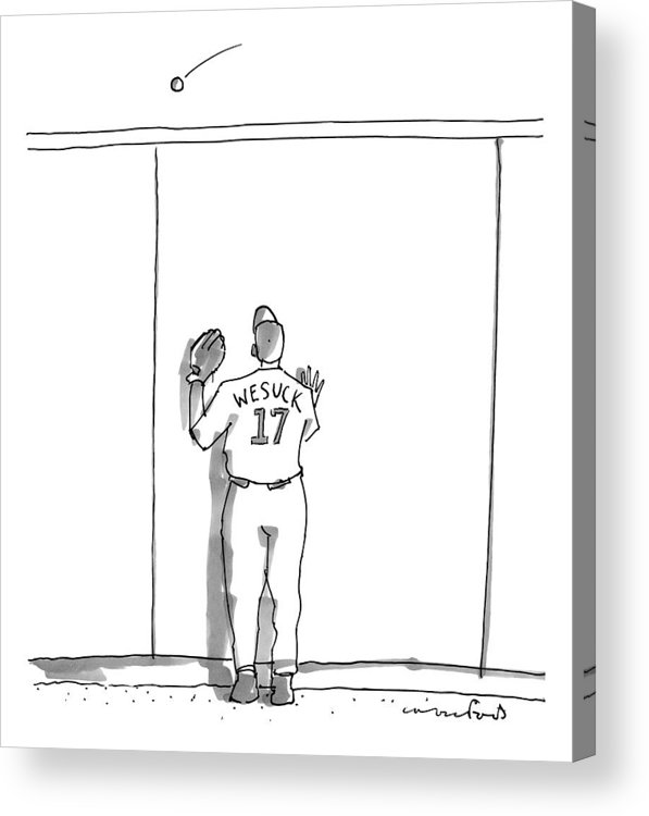 Baseball Acrylic Print featuring the drawing A Baseball Player Watches A Ball Fly Over A Wall by Michael Crawford