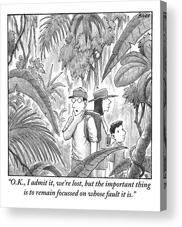 Lost Acrylic Print featuring the drawing A Family Is Lost In The Depths Of A Jungle by Harry Bliss