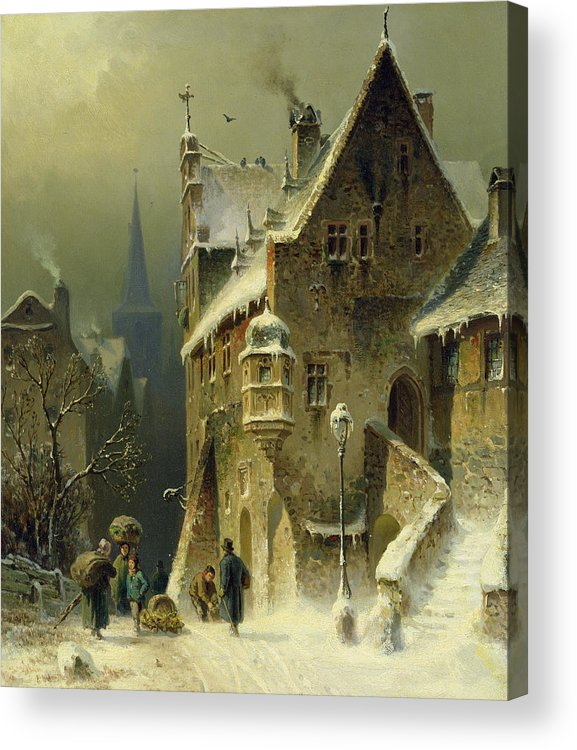 Schlieker Acrylic Print featuring the painting A Small Town in the Rhine by August Schlieker