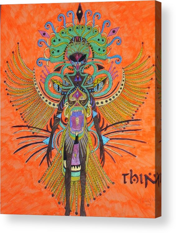 Alien Acrylic Print featuring the painting Alien With Thing by Michael Pasko