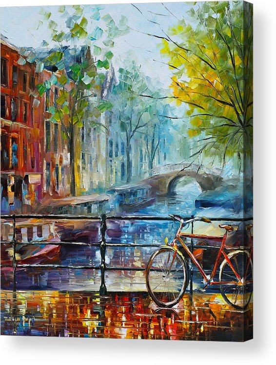 Amsterdam Acrylic Print featuring the painting Bicycle in Amsterdam by Leonid Afremov