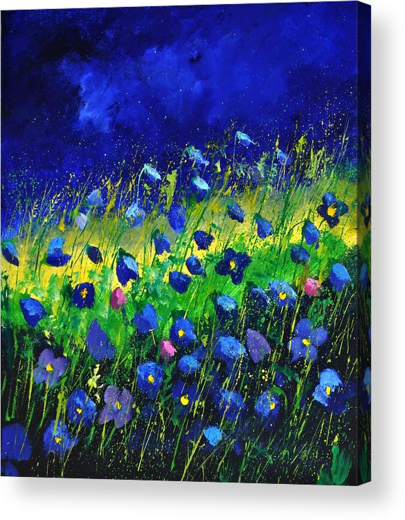 Landscape Acrylic Print featuring the painting Blue poppies 674190 by Pol Ledent