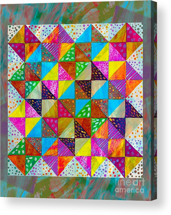 Broken Dishes Acrylic Print featuring the painting Broken Dishes - Quilt Pattern - Painting 2 by Barbara Griffin