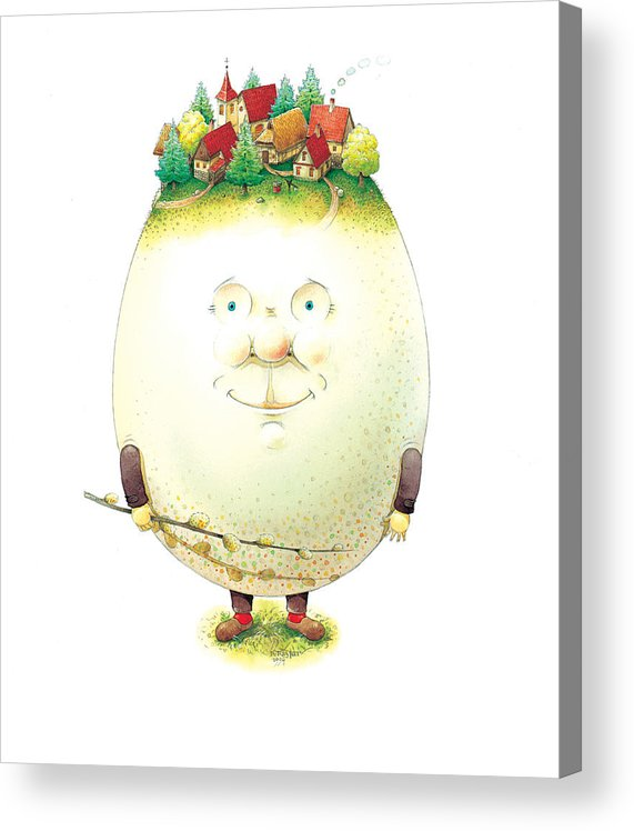 Easter Eggs Spring Green Town Acrylic Print featuring the painting Eastereggs 04 by Kestutis Kasparavicius