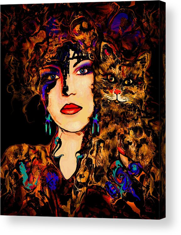 Woman With Cat Acrylic Print featuring the mixed media Happy Together by Natalie Holland