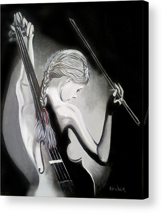 Violin Acrylic Print featuring the painting My Voilin by Jose Manuel Abraham