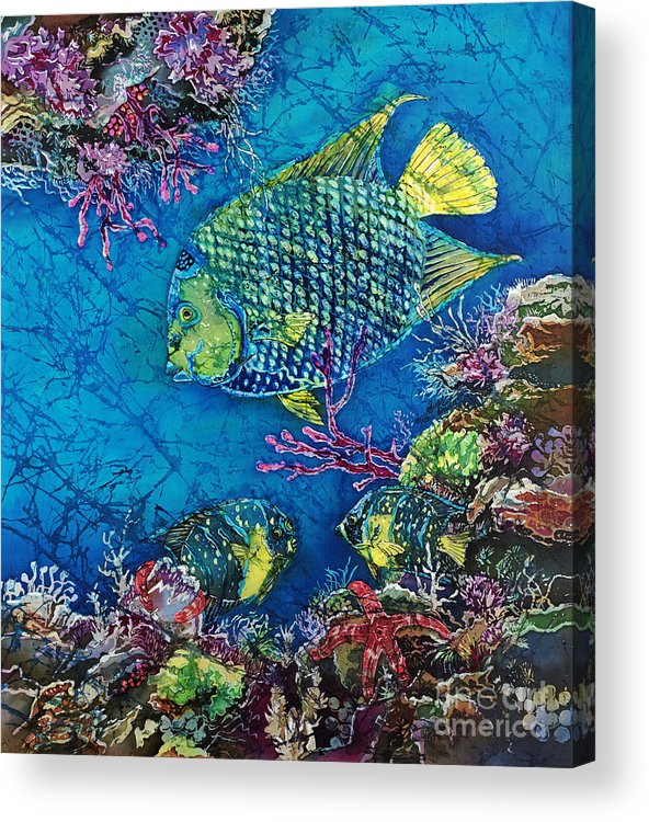 Angelfish Acrylic Print featuring the painting Queen of the Sea by Sue Duda