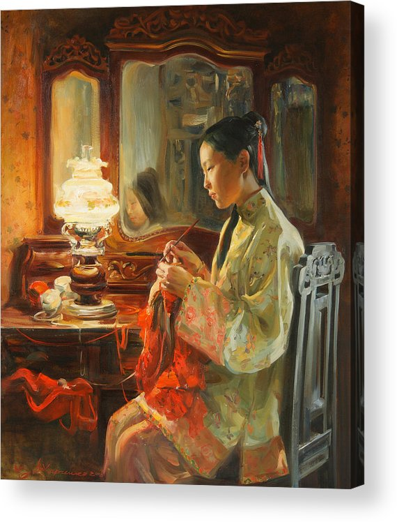 China Acrylic Print featuring the painting Quiet evening by Victoria Kharchenko