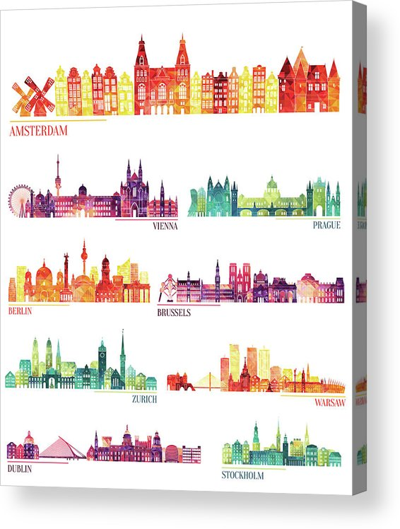 Dublin Acrylic Print featuring the digital art Skyline Detailed Silhouette Set by Katerina andronchik