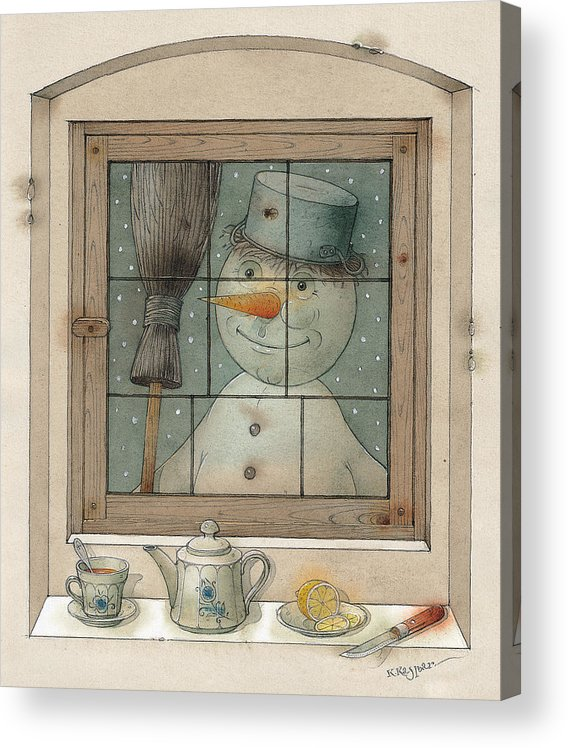 Snowman Winter Tea Breakfast Christmas Holiday Acrylic Print featuring the painting Snowman by Kestutis Kasparavicius