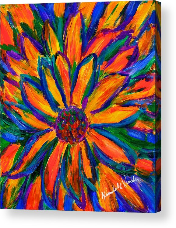 Sunflower Acrylic Print featuring the painting Sunflower Burst by Kendall Kessler