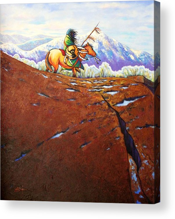 Nature Acrylic Print featuring the painting Where Eagles Soar by Joe Triano