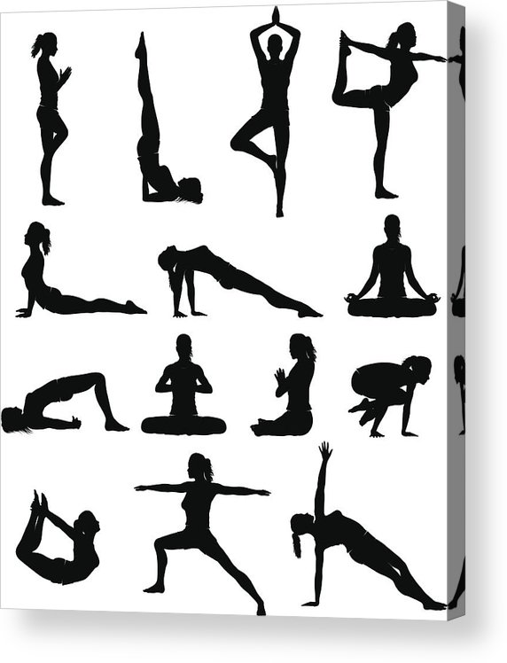 People Acrylic Print featuring the drawing Woman yoga silhouettes by Pixitive