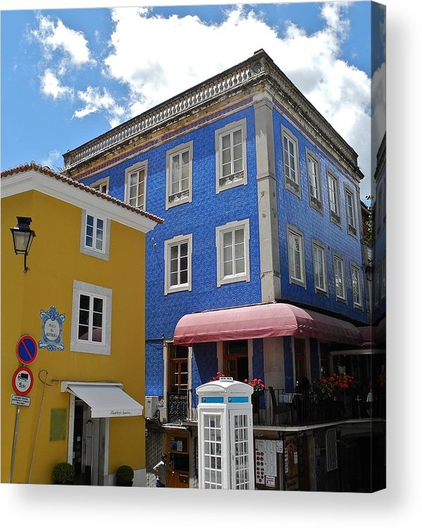 Blue Tile And Yellow Stucco Buildings Acrylic Print featuring the photograph Sintra Portugal Buildings by Kirsten Giving