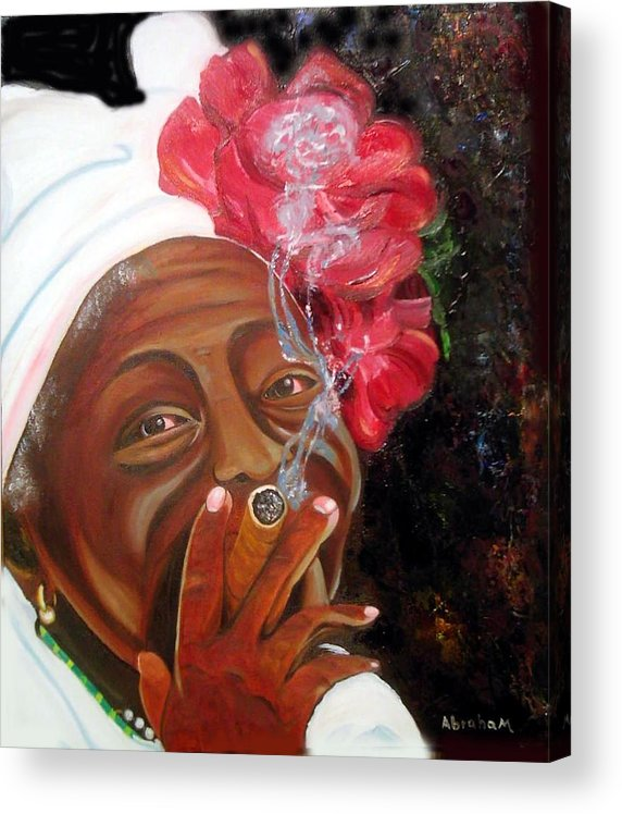Cuban Art Acrylic Print featuring the painting Tobacco Lady by Jose Manuel Abraham