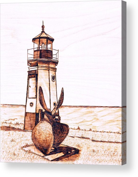 Lighthouse Acrylic Print featuring the pyrography Vermilion Lighthouse by Danette Smith