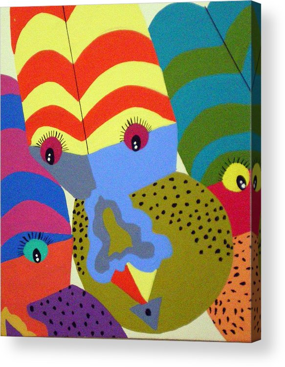 Clown Acrylic Print featuring the painting Clowns by Tammera Malicki-Wong