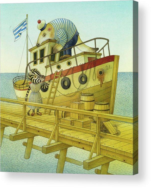 Striped Zebra Animals Sea Sky Flag Ship Boat Bridge Landscape Anteater Sailor Illustration Children Book Acrylic Print featuring the painting A Striped Story05 by Kestutis Kasparavicius