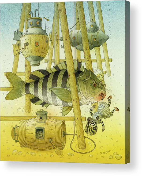 Striped Zebra Animals Fish Submarine Underwater Water Sea Sand Illustration Children Book Acrylic Print featuring the painting A Striped Story07 by Kestutis Kasparavicius