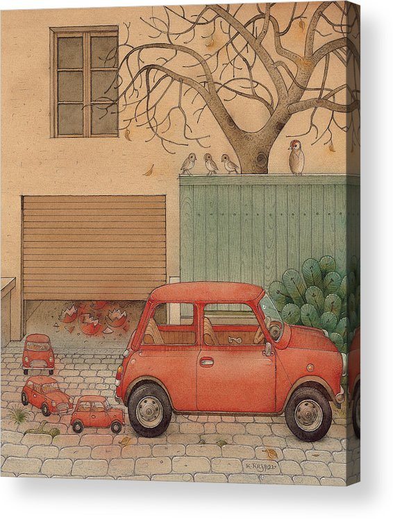 Car House Automobile Egg Red Tree Acrylic Print featuring the painting Automobile by Kestutis Kasparavicius