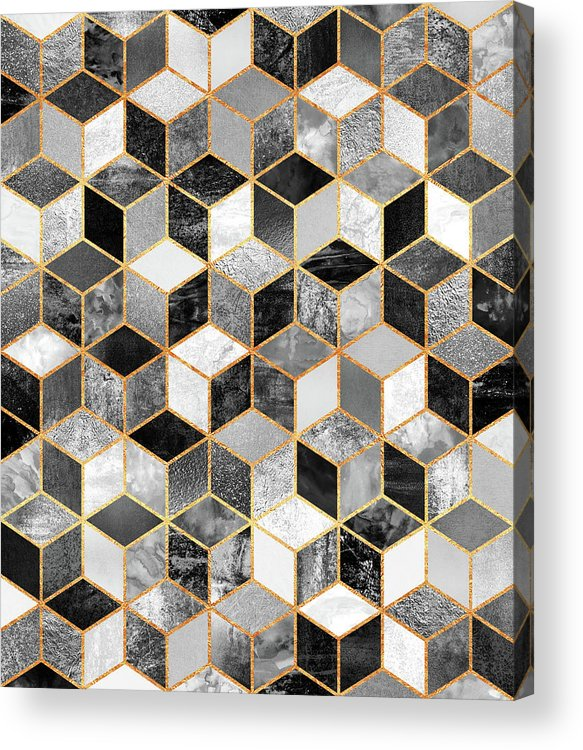 Graphic Design Acrylic Print featuring the digital art Black and White Cubes by Elisabeth Fredriksson