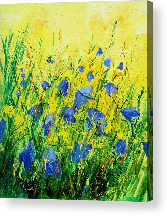 Poppies Acrylic Print featuring the painting Blue bells by Pol Ledent