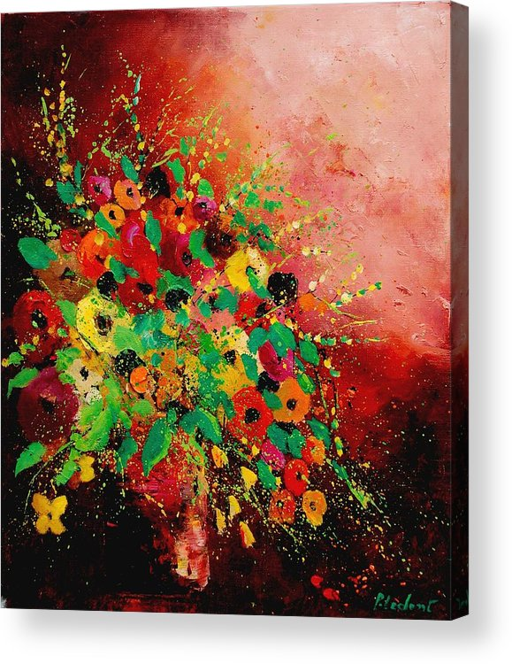 Flowers Acrylic Print featuring the painting Bunch of flowers 0507 by Pol Ledent