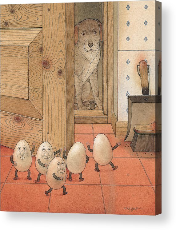 Kitchen Red Brown Dog Eggs Acrylic Print featuring the painting Eggs and Dog by Kestutis Kasparavicius