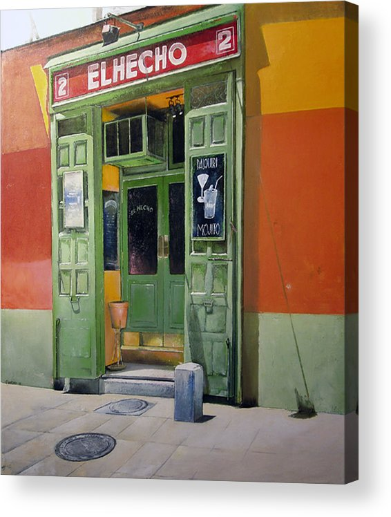 Hecho Acrylic Print featuring the painting El Hecho Pub by Tomas Castano