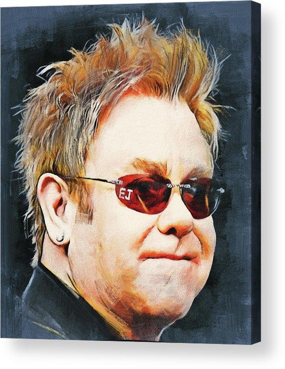 Elton Acrylic Print featuring the digital art Elton john classic portrait by Yury Malkov