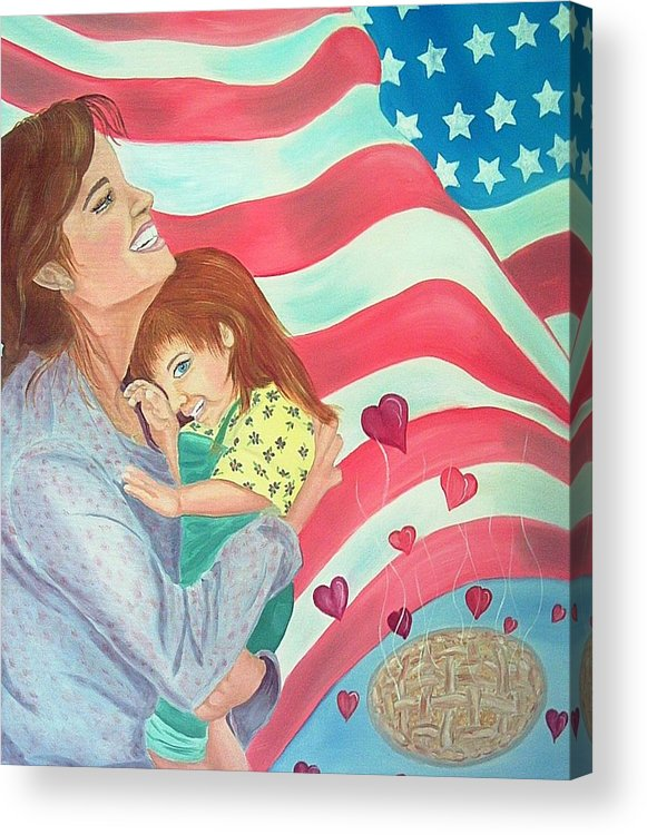 Flag Acrylic Print featuring the painting Family Country and Apple Pie by Kathern Welsh