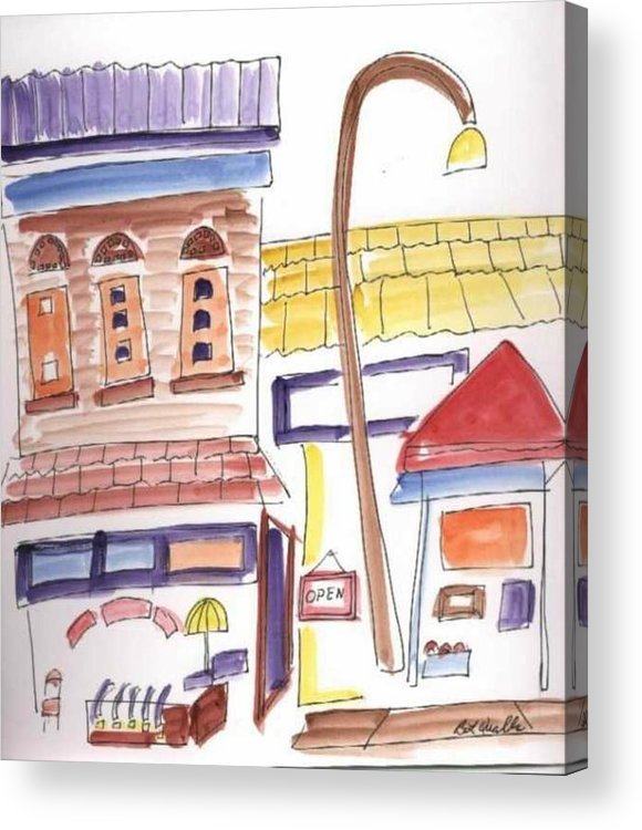Watercolor Acrylic Print featuring the painting Festival in the City 4 by B L Qualls