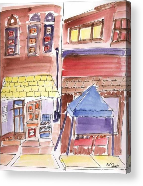 Watercolor Acrylic Print featuring the painting Festival in the City - 9 by B L Qualls